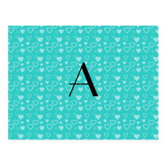 Turquoise hearts pattern monogram postcard