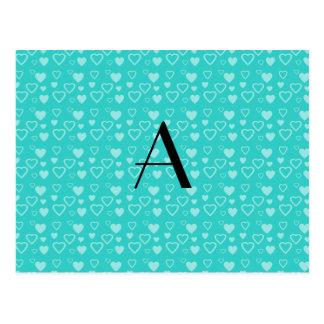 Turquoise hearts pattern monogram postcard