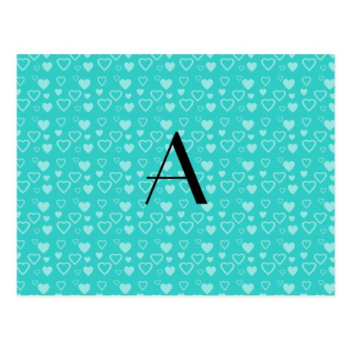 Turquoise hearts pattern monogram post card