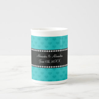 Turquoise hearts wedding favors bone china mugs