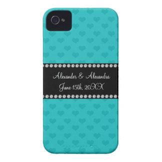 Turquoise hearts wedding favors iPhone 4 covers