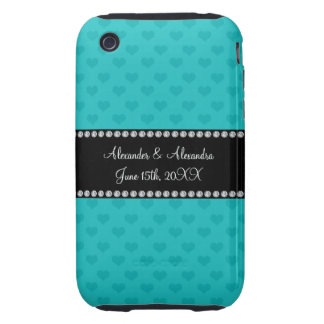 Turquoise hearts wedding favors iPhone 3 tough covers