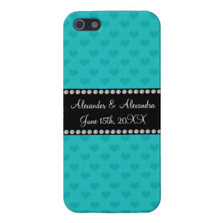 Turquoise hearts wedding favors iPhone 5 case