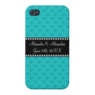 Turquoise hearts wedding favors cases for iPhone 4