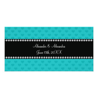 Turquoise hearts wedding favors photo cards