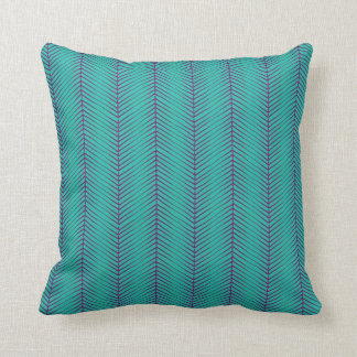 Turquoise Herringbone Pattern Cushion