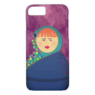 Turquoise Hijab Cartoon Girl Colorful Bold Purple iPhone 8/7 Case