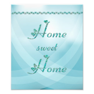 Turquoise Home sweet Home with hearts Photo Print