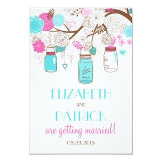 Turquoise & Hot Pink Mason Jars Wedding RSVP Card 9 Cm X 13 Cm Invitation Card