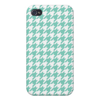 Turquoise Houndstooth iPhone 4/4S Cases