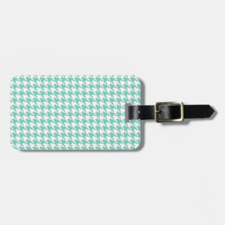 Turquoise Houndstooth Luggage Tag