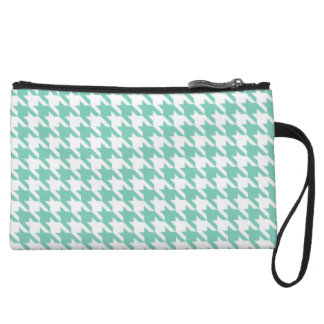 Turquoise Houndstooth Wristlet Purses