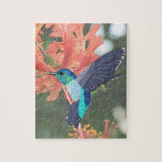 Turquoise Hummingbird and orange Hibiscus Jigsaw Puzzle