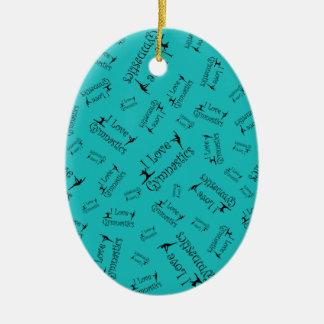Turquoise I love gymnastics Christmas Ornament
