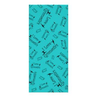 Turquoise I love gymnastics Customized Rack Card