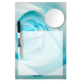 Turquoise Ice Rose Dry Erase Board With Mirror