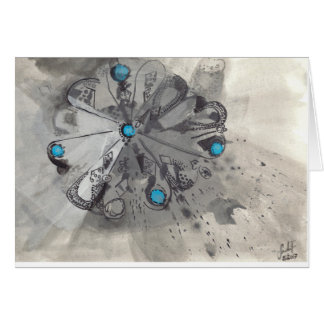 TURQUOISE II - Ink Drawing with Blue Greeting Card