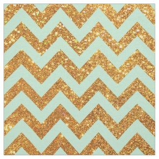 Turquoise Jade Girly Gold Glitter Chevron Pattern Fabric