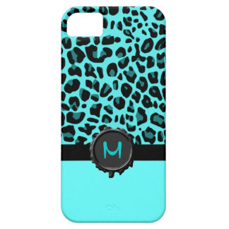 Turquoise Jaguar Print Monogram iPhone 5 Case