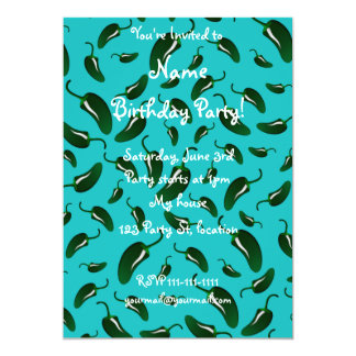 """Turquoise jalapeno peppers pattern 5"""" x 7"""" invitation card"""