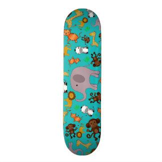 Turquoise jungle safari animals skate board decks