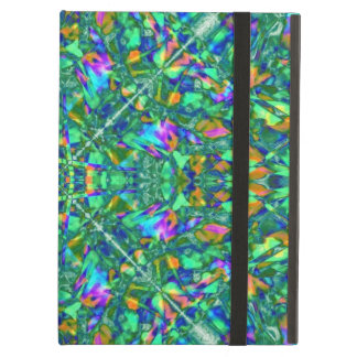 Turquoise Kaleidoscope Fractal Art Cover For iPad Air
