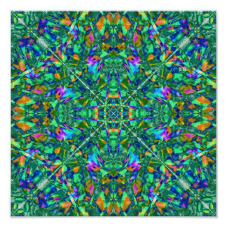 Turquoise Kaleidoscope Fractal Art Poster