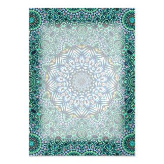 Turquoise Kaleidoscopic Mosaic Reflections Design 13 Cm X 18 Cm Invitation Card