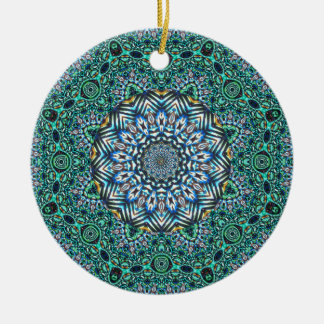 Turquoise Kaleidoscopic Mosaic Reflections Design Christmas Ornament