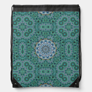 Turquoise Kaleidoscopic Mosaic Reflections Design Drawstring Bag