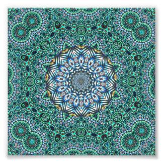 Turquoise Kaleidoscopic Mosaic Reflections Design Photographic Print