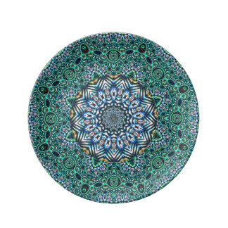 Turquoise Kaleidoscopic Mosaic Reflections Design Plate