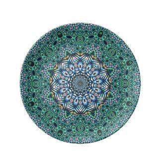 Turquoise Kaleidoscopic Mosaic Reflections Design Porcelain Plate