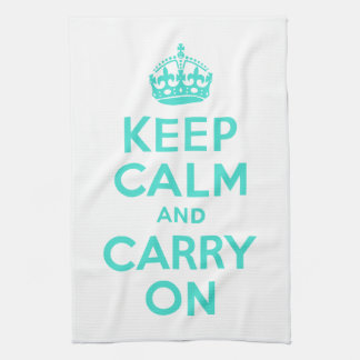Turquoise Keep Calm and Carry On American MoJo Kit Tea Towel