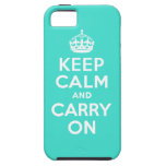 Turquoise Keep Calm and Carry On Case For The iPhone 5