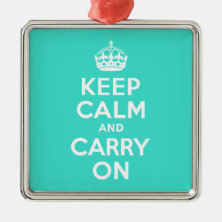 Turquoise Keep Calm and Carry On Christmas Ornament