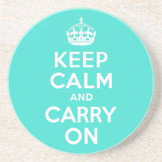 Turquoise Keep Calm and Carry On Coaster