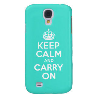Turquoise Keep Calm and Carry On Galaxy S4 Case