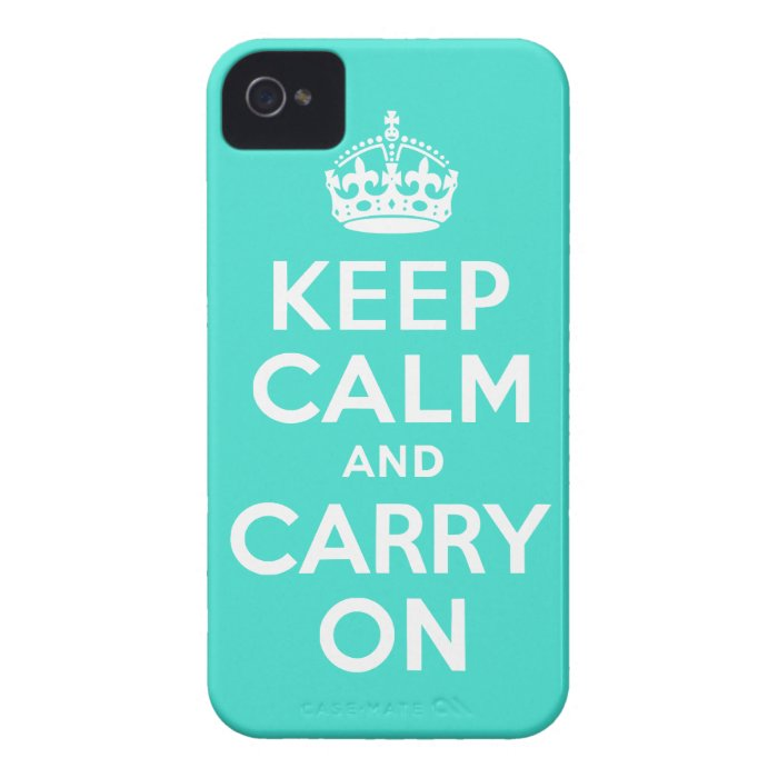 Turquoise Keep Calm and Carry On iPhone 4 Covers