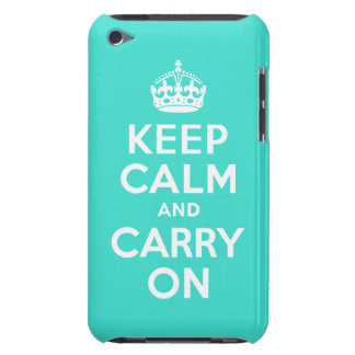 Turquoise Keep Calm and Carry On iPod Case-Mate Case