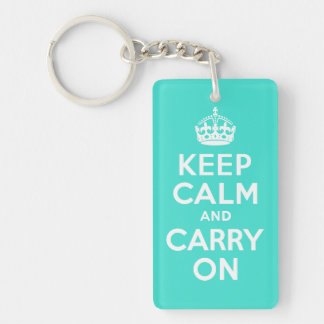 Turquoise Keep Calm and Carry On Key Chain