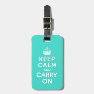 Turquoise Keep Calm and Carry On Luggage Tag