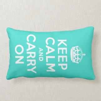 Turquoise Keep Calm and Carry On Lumbar Cushion