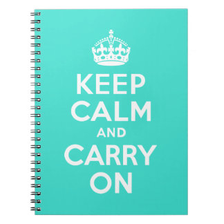 Turquoise Keep Calm and Carry On Notebooks