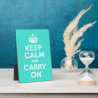 Turquoise Keep Calm and Carry On Plaque