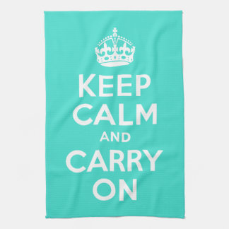 Turquoise Keep Calm and Carry On Tea Towel