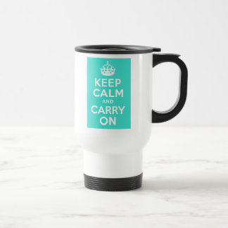 Turquoise Keep Calm and Carry On Travel Mug