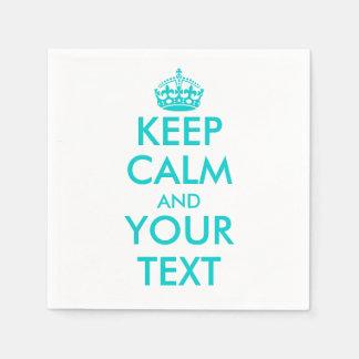 Turquoise keep calm napkins | Customize template Paper Napkin