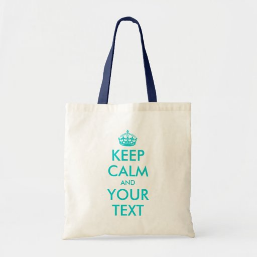 Turquoise Keep Calm tote bag | Customizable text