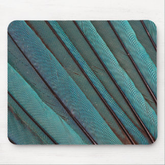 Turquoise Kingfisher Feather Design Mouse Mat